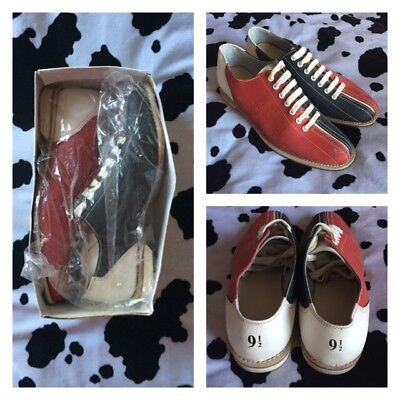 *RARE* Vtg 70s / 80s Bowling Shoes Sz 9.5 Leather Deadstock Mod Retro Casual