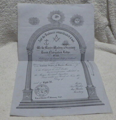 Masonic Certificate:Extremely Rare, Troon Navigation Lodge No 86 dated 1873