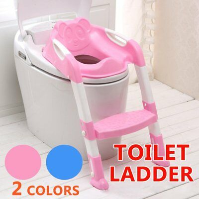 Safety Adjustable Ladder Seat Chair Baby Toddler Kids Potty Training Toilet ON