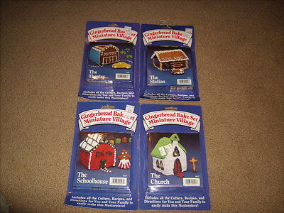 4 Gingerbread house bake sets miniature village NEW & SEALED Cutters - Church ++
