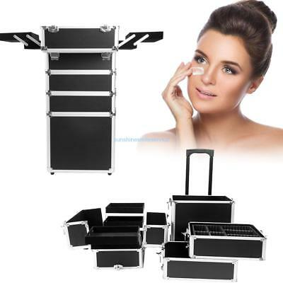 5 in 1 Aluminium Cosmetic Trolley Case Vanity Professional Make Up Beauty Box