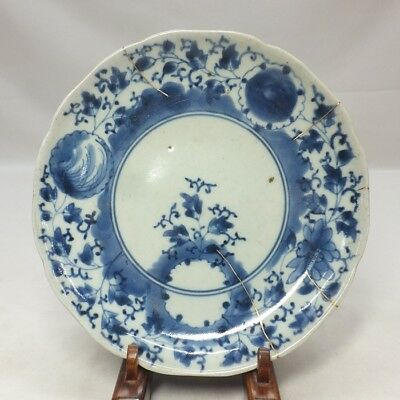 A259: Real Japanese OLD IMARI high-class blue-and-white porcelain plate in 18c