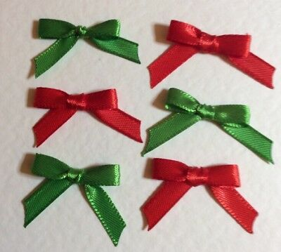 20 Christmas Mix Tiny Bright Red & Green 6mm Ribbon bows 🎀 for card crafts. UK