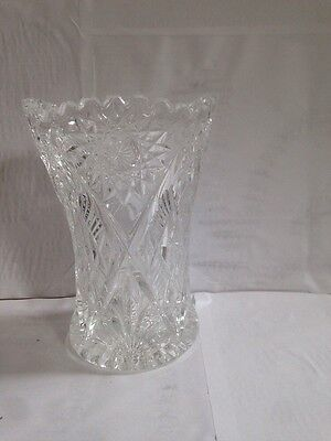 "Heavy Deep Cut Glass Vase 6"" x 4 1/4"""