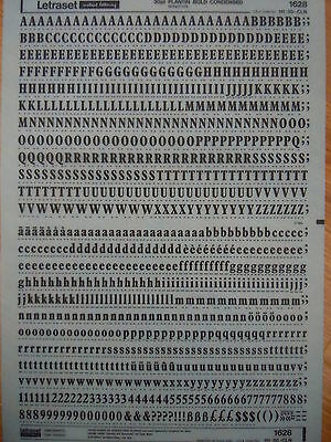 LETRASET Rub on Letter Transfers PLANTIN BOLD CONDENSED 30pt #1628 NEW