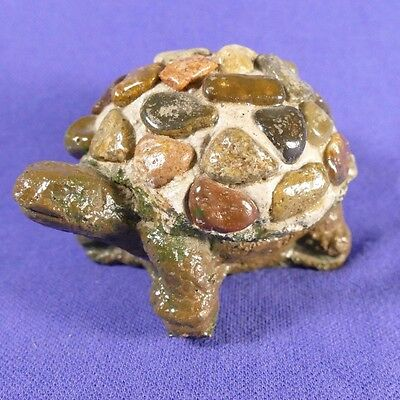 Turtle Figurine Small Cement and Stones Unique Garden Art Paperweight