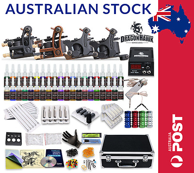 Tattoo Machine Kit Complete - 4 guns + Power Supply + 40 Color Ink Set + Needles