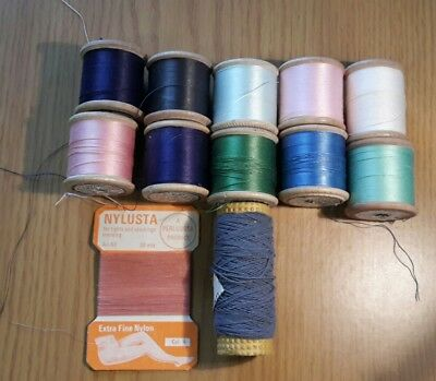 10 Vintage wooden bobbins/cotton reels, Sylko plus  Nylusta and elastic