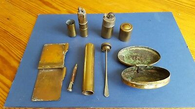 Trench art. 5 Brass items including light ers notebook snuff box and spatula (?)