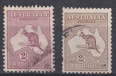 Australia 1915/22  2 x 2/- kangeroos red brown and brown used