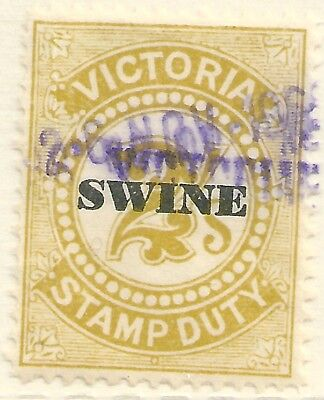 Victoria , 2/- Swine Tax , Revenue / Duty stamps , Fiscally Used . (N)