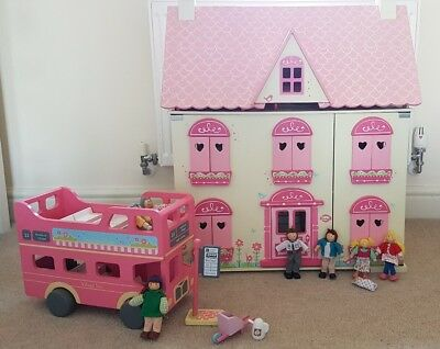 Early Learning Centre ELC Rosebud Dolls House, Bus, Furniture And Figures