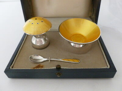 Ela Danish Denmark silver and enamel salt and pepper, boxed and unused
