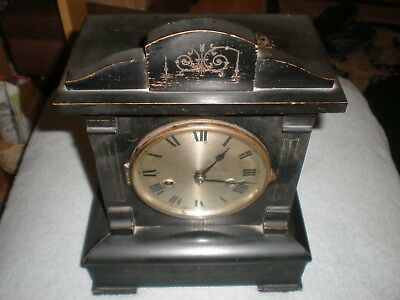 Vintage HAC H.A.C. MANTEL PIECE CLOCK WITH KEY PENDULUM