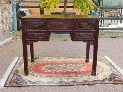 A Good Sized Antique Oriental Freestanding Carved Side, Writing Or Serving Table