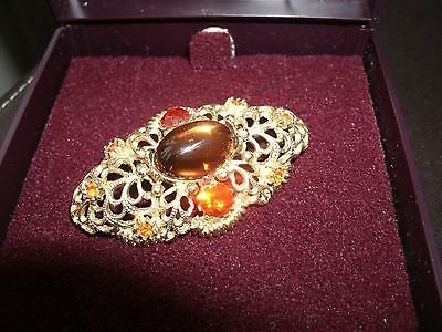 Vintage 1950's Costume Jewellery Brooch - Amber coloured 'stone' & diamantes
