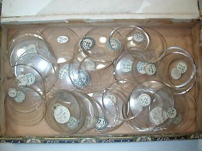 Fifty (50) Thick Glass Large 18 Size Pocket Watch Crystals. 20J