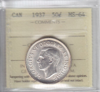 1937 Canada Fifty Cents - ICCS MS-64 Choice Half Dollar Coin