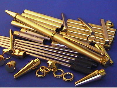 Woodturning Pen Kits x 5 - Slimline with Beaded style Centre Ring - Gold/Chrome
