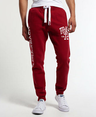 New Mens Superdry Trackster Slim Joggers Super State Red