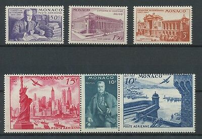 [P2067] Monaco airmail 1947 good set very fine MNH stamps