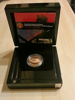 """Manchester United GOLD Proof Medallion / Coin """"Old Trafford"""" - RARE - 1/2 Ounce"""