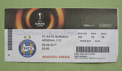 used football ticket Arsenal v BATE 2017 Borisov Arena - for collectors