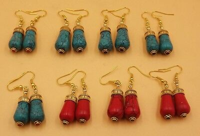 8Pcs. Lot Special Red Coral & Multi Stone 925 Solid Brass Earring KA5742