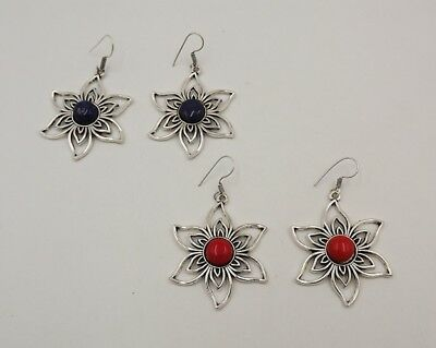 2Pcs. Lot Special Red Coral & Lapis Lazuli 925 Silver Overlay Earring KA10702
