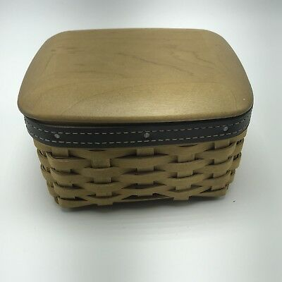 2003 Longaberger Basket with Leather Liner Protector Wooden Lid Small Box