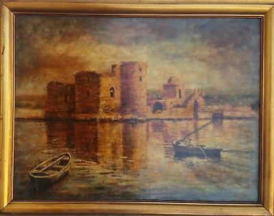 Quadro paint oil canvas Roland Khoury 65 castle on river 80x65 painter artist