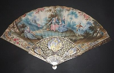 Fine Antique French Carved Mother Of Pearl Gold Inlay Hand Painted Scene Fan
