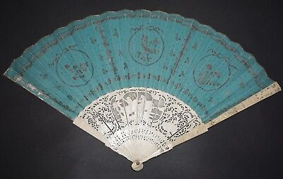 Rare Antique 18Th Chinese Export Filigree Figural Carved Sticks Fan