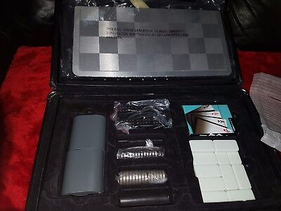 silver suitcase set cribbage/ chess set/ poker dice / domino/ cards and drafts