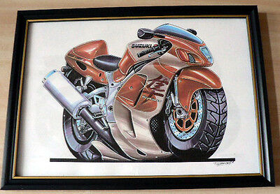 Suzuki Motorcycles Various  Framed Print A4 Caricature Present Gift