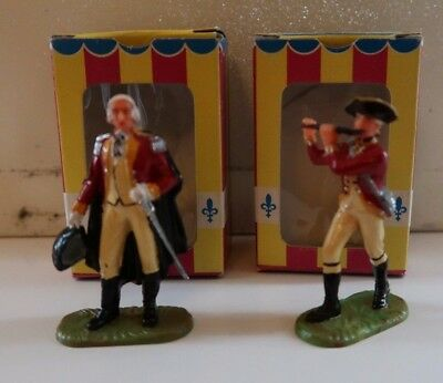 Vintage Boxed Elastolin Painted Figures X2 - Officer 9131 & Whistler 9135 Red