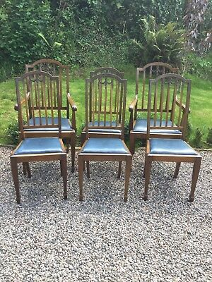 Set Of 6 Edwardian Mahogany Dining Chairs With Drop-In Seats