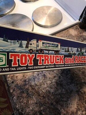 1997 Hess Roy Truck and Racers New In Box Mint Battery Operated