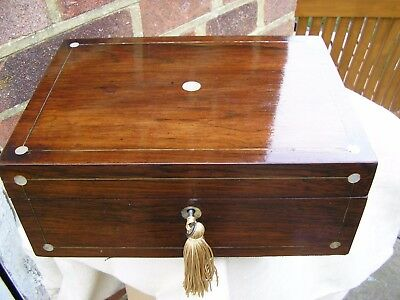 NICE VICTORIAN c1860 ROSEWOOD MOP STRING PEWTER INLAY JEWELLERY BOX TRINKET TRAY