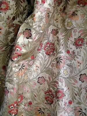 One French antiques curtain silk fabric  brocaded metallic threads Indienne
