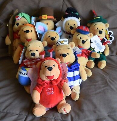"Disney LOT OF 10 WINNIE THE POOH Vintage 7"" Mini Bean Bag Plush - New with Tags"