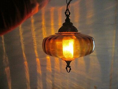 complete Retro Vintage Spherical Amber color Swag Lamp 11.5 to 12 inches wide