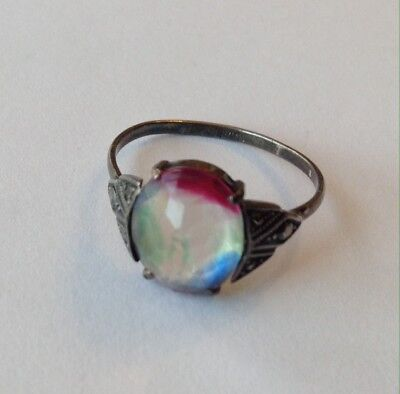 Vintage Art Deco Rainbow Iris & Marcasite Sterling Silver Ring Size 9