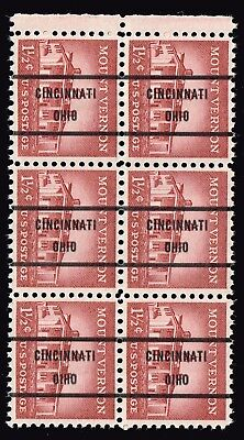 "USA STAMP #1032 – 1956 1 1/2c MNH/OG Precancel ""OIHO"" ovpt ERROR BLK OF 6"