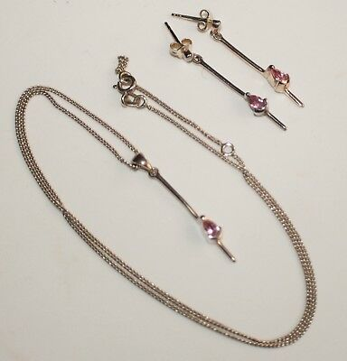 Lovely Sterling Silver Pendant, Chain and Earrings with Pink Stones