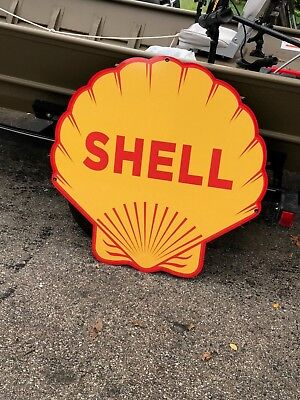 "SHELL Scalloped SIGN VERY LARGE 40"" VINTAGE LOOK ""Free Shipping"" GAS OIL TEXACO"