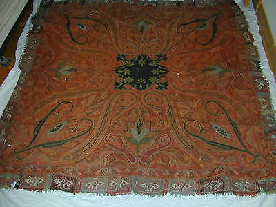 old antique paisley kashmir shawl hand made hand embroidered