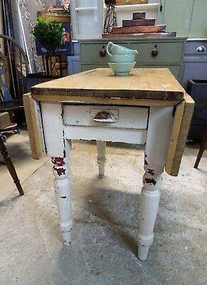 Victorian Drop Leaf Pine Farmhouse Kitchen Table with Cutlery Drawer