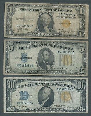 LOT of 3 North Africa WWII Notes, YELLOW SEALS, Circulated, $1, $5, and $10