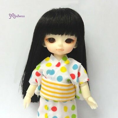 "Mimi Collection Hujoo Baby Suve 4-5"" Heat Resistant Long Straight Bjd Wig Black"